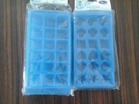 PLASTIC RECTANGULAR ICE TRAY (18 CUBES) I SET CONTAINS 2 PIECES  BLUE  COLOUR