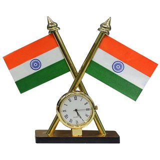 Indian Flag with Clock Use For Office,Car,Home IFCG-525