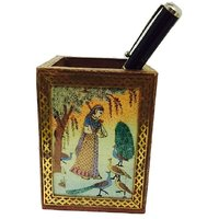 Traditional Sheesam Wooden Pen Stand With Ragini Painting