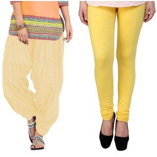 Stylobby Yellow Legging Beige Patiala Salwar Combo Of 2