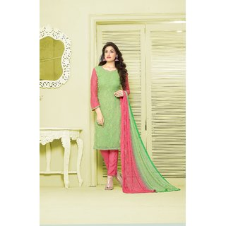 Thankar Green  Pink Embroidered Chiffon Straight Suit (Unstitched)