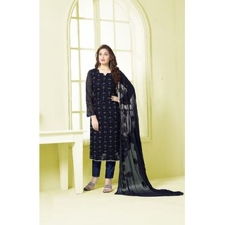 Thankar Navy Blue Embroidered Chiffon Straight Suit (Unstitched)