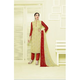 Thankar Light Yellow  Red Embroidered Chiffon Straight Suit