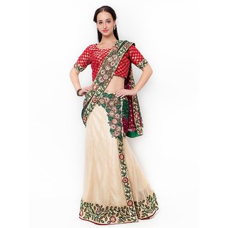 Triveni White Net Embroidered Saree With Blouse