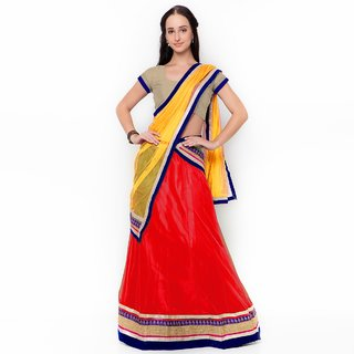 Triveni Trendy Red Colored Border Worked Net Lehenga Choli