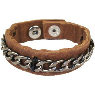 Sakhi Styles men's handmade genuine leather bracelet with metal chain adjustable size with metal stud closer.
