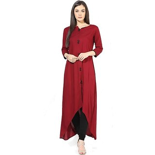 Anarkali Red Floral Crepe Straight Kurti