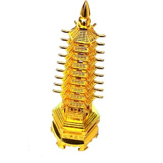 Golden Finish Sturdy Metal Pagoda Education Tower Sculpture 7 inch