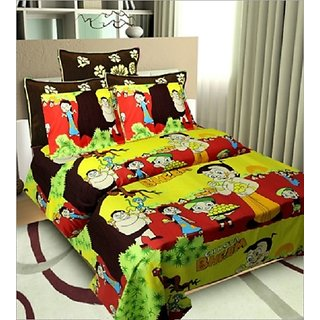 The Great Indian Baby Shop Kids Favorite Cartoon Double Bed Sheet With Two  Free Pillow