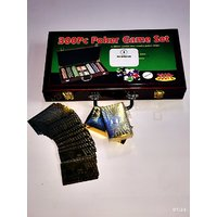 300 PCS PLASTIC POKER CHIPS WOODEN BOX GAME SET WITH TWO GOLD PLATED DECKS