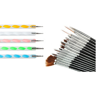 Looks United Pack Of 15 Nail Art Brushes And 5 Nail Art Dotting Tools