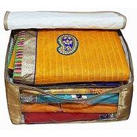Saree Cover 2Pcs Set In Golden Satin  Extra Large Saree Cover, Wedding Gift