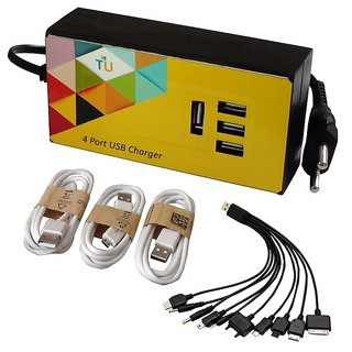 TechnologyUncorked 15 Watt 4 port USB Charger with Charging cables for Handheld Devices  Mobiles