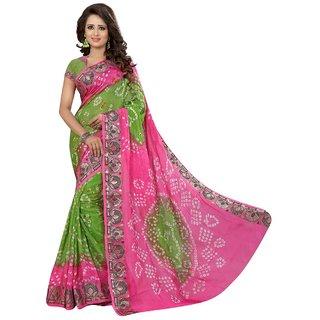 SVB Multicolor Art Silk Batik Print Saree With Blouse