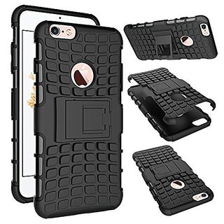 Kenal Hard Armor Hybrid Rubber Bumper Flip Stand Rugged Back Case Cover For Apple Iphone 6/6s/6s+ - BLACK