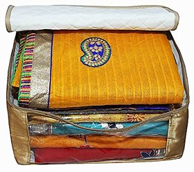 Saree Cover 2Pcs Set In Golden Satin  Extra Large Saree