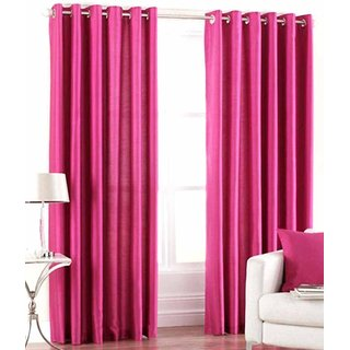 Panipat Textile Hub Rani Pink Plain Polyster Eyelet Door Curtains set of 2 Size 4x7 (PT-1044)
