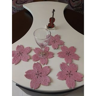 BiTs 5002 Flower Shaped Pink Colored Net Beaded Luxorious Tea Coffee Glass Coaster -Set of 6