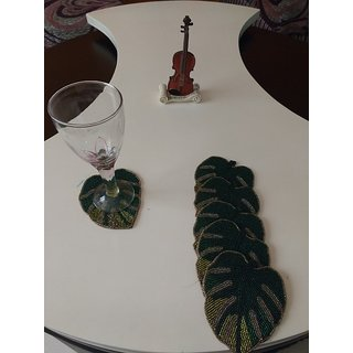 BiTs 5005 Leaf Shaped Green Colored Net Beaded Luxorious Tea Coffee Glass Coaster -Set of 6