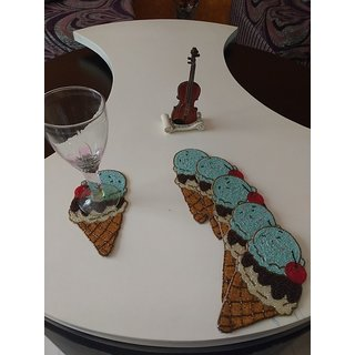 BiTs 5007 Icecream Shaped Blue/Brown Colored Net Beaded Luxorious Tea Coffee Glass Coaster -Set of 6
