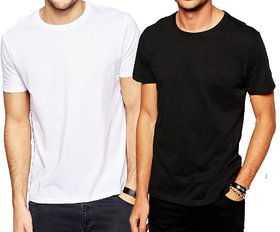 Pack of 2 DryFit polyester T-shirt Round Neck - White and Black