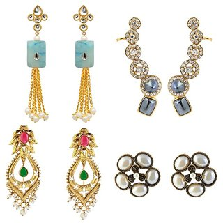 Kriaa Set Of  4 Zinc Alloy Gold Plated Austrian Diamond Earrings Combo - 1001534