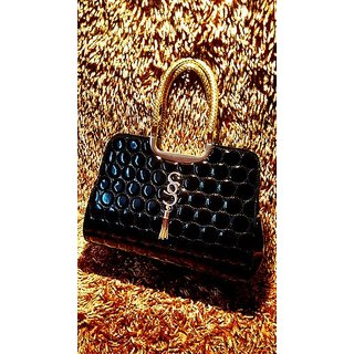 620009afe27 Vogue Lady Designer Glossy Medium Size Party Wear Handbag with Long Belt