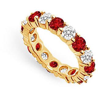 Lovebrightjewelry Trendy Diamond & Ruby 18K Yellow Gold Eternity Band 4.00 Ct