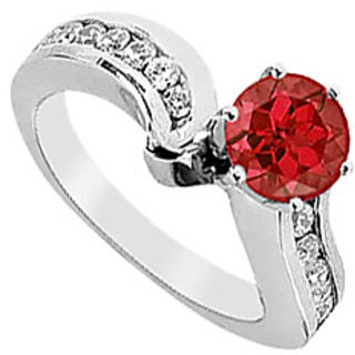 Lovebrightjewelry In Fashion Ruby & Diamond 14K White Gold Engagement Ring-1.50 Ct