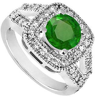Lovebrightjewelry Pretty Emerald & Diamond 14K White Gold Engagement Ring-1.50 Ct