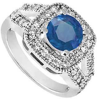 Lovebrightjewelry Chic Sapphire & Diamond 14K White Gold Engagement Ring-1.50 Ct