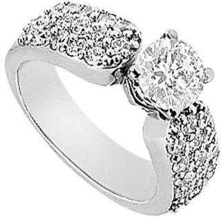 Lovebrightjewelry Chic Diamond 14K White Gold Engagement Ring-1.50 Ct