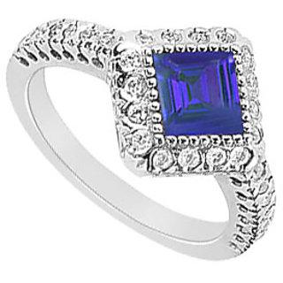 Lovebrightjewelry Lovely Sapphire & Diamond 14K White Gold Engagement Ring-1.50 Ct