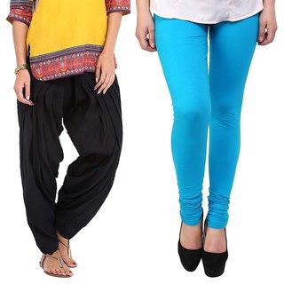 Stylobby Black Patiala Salwar SkyBlue Legging Pack Of 2