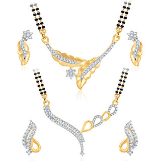 Sukkhi Appealing Gold Plated CZ Set of 2 Mangalsutra Set Combo For Women
