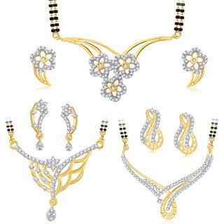 Sukkhi Resplendent Gold Plated CZ Set of 3 Mangalsutra Set Combo For Women
