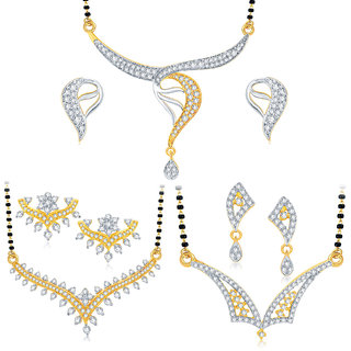 Sukkhi Classy Gold Plated CZ Set of 3 Mangalsutra Set Combo For Women