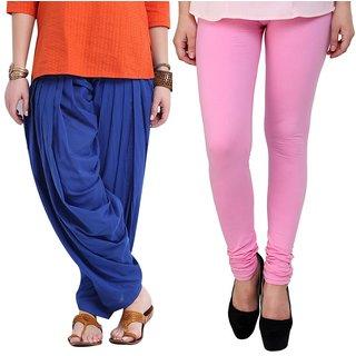 Stylobby Blue Patiala Salwar Baby Pink Legging Pack Of 2
