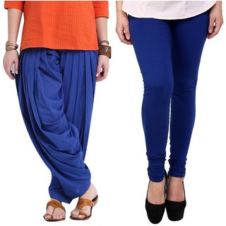 Stylobby Blue Patiala Salwar Blue Legging Pack Of 2