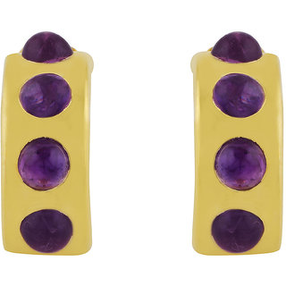 Amethyst stone studded Earring with Gold Polish for Girls by Allure