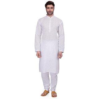 RG Designers Men's Full Sleeve Kurta Pyjama Set D6577White