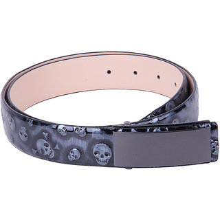 Black Buck Men Formal Black Genuine Leather Belt  (Black)