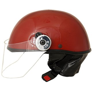 MP Open Face Motorcycle Scooter Helmet for Gents/Boys/Girls Red