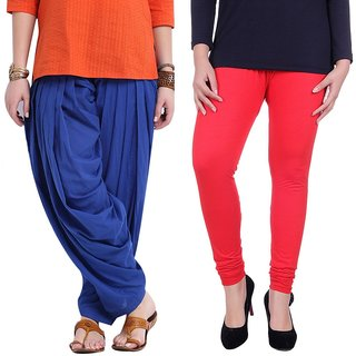 Stylobby Blue Patiala Salwar Red Legging Pack Of 2