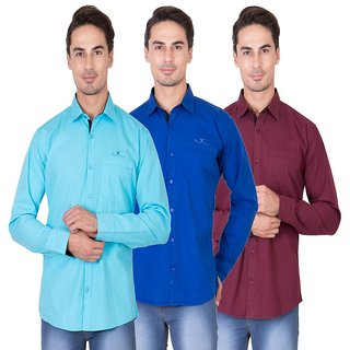 Real Cotton Men's Full Sleeves Shirt Pack of 3