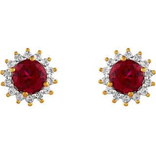 Beautiful Ruby  Topaz studded 925 Sterling Silver Earrings