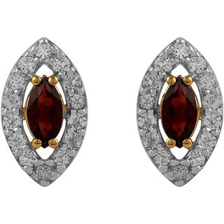 Allure presents 925 Sterling Silver Garnet  Topaz Studs for Girls