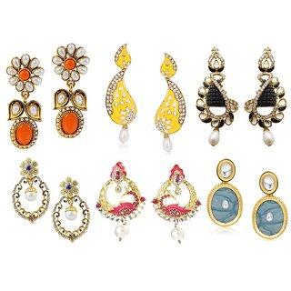 Kriaa Set Of 6 Zinc Alloy Gold Plated Austrian Diamond Earrings Combo - 1001544