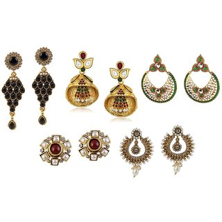 Kriaa Set Of 5 Zinc Alloy Gold Plated Austrian Diamond Earrings Combo - 1001549