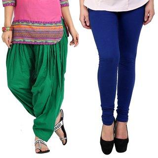 Stylobby Green Patiala Salwar Blue Legging Pack Of 2